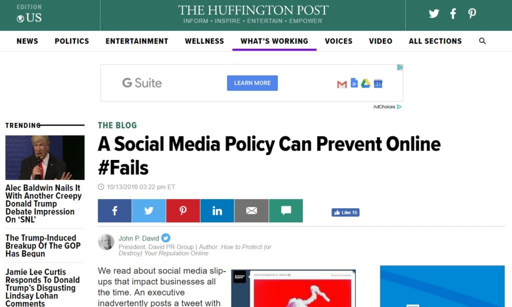 Online reputation book in Huffington Post